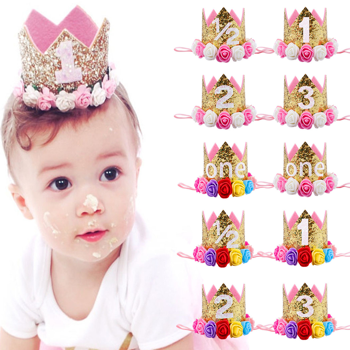 Online Shop First Birthday Crown Birthday Outfit 30th Birthday crown adult  cake smash Pale Gold + Pink Adult Crown Headband Photo Props  bc733e840167