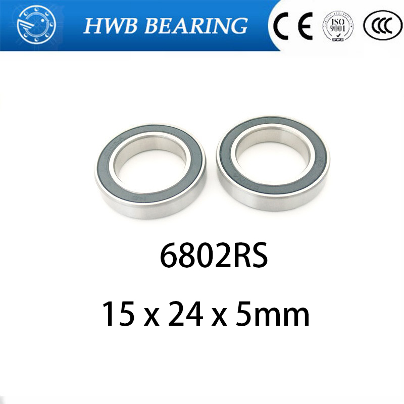 10Pcs <font><b>6802</b></font>-<font><b>2RS</b></font> 6802RS 6802rs <font><b>6802</b></font> rs Deep Groove Ball Bearings 15 x 24 x 5mm Free shipping High Quality image