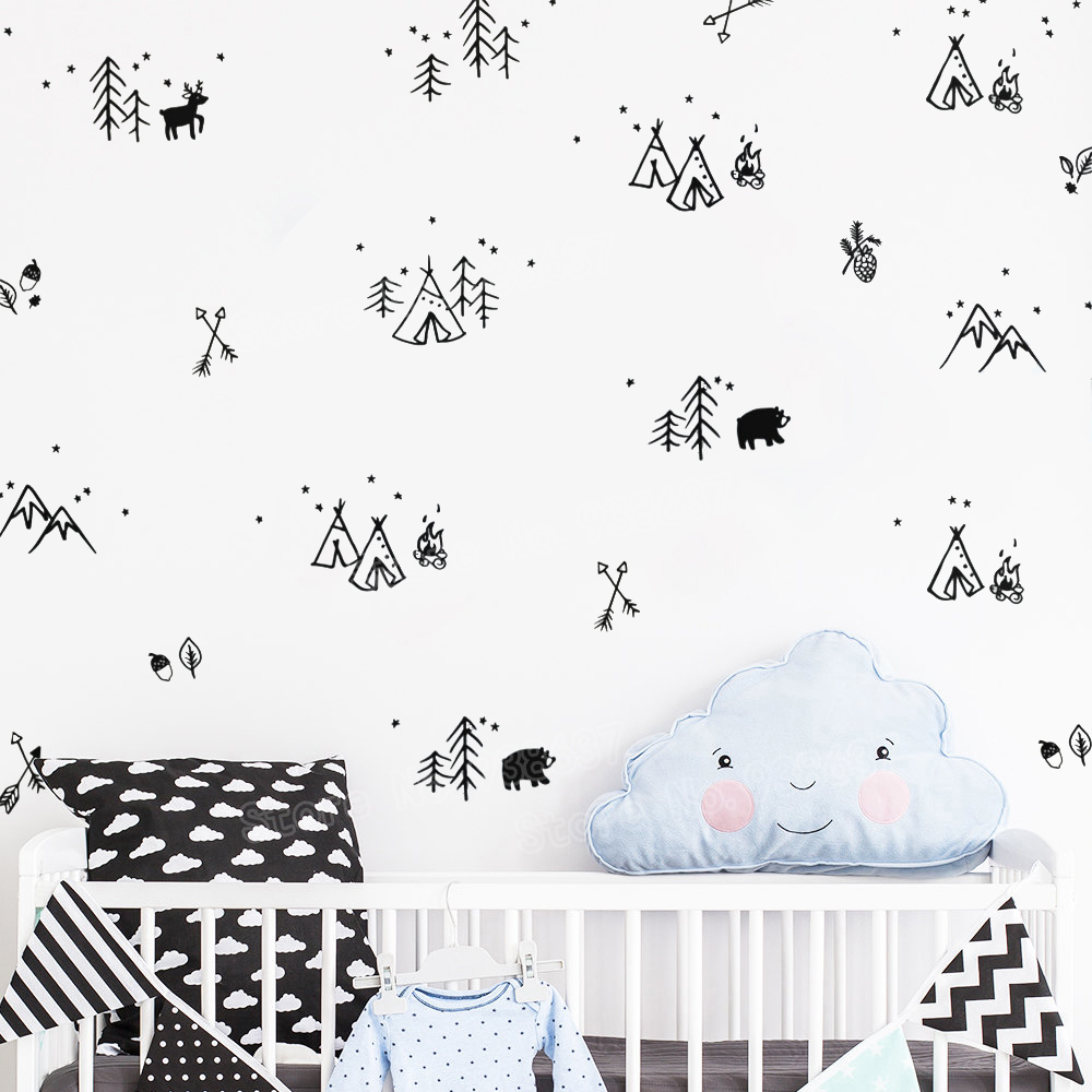 Woodland Doodles Wall Decals Forest Tree Animals Arrows