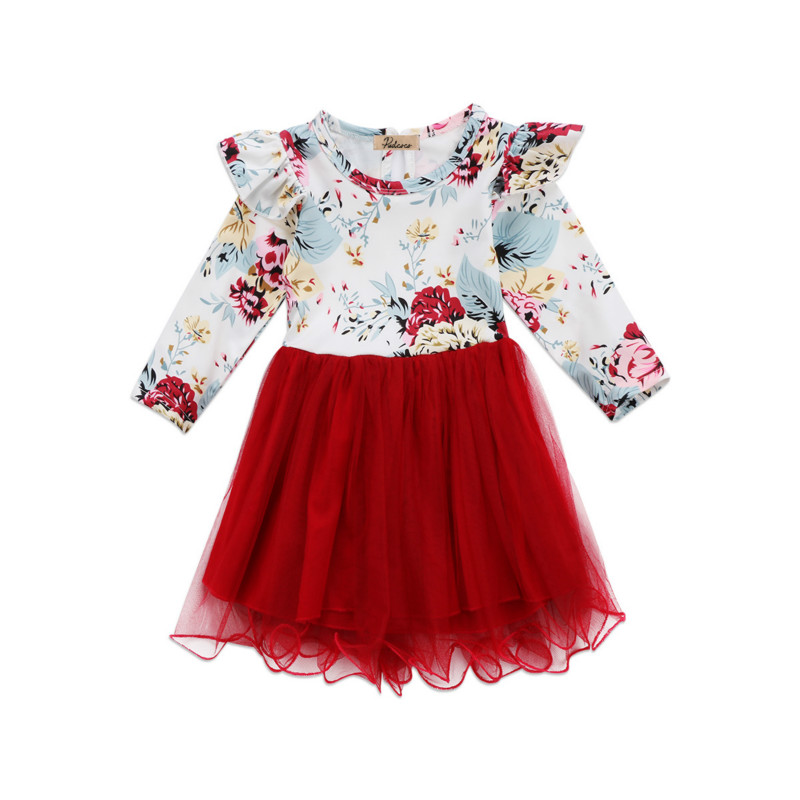 Xmas Newborn Kids Baby Girls Infant Party Tutu Lace Mini Dress Cotton Floral Long Sleeve Flower Tulle Pageant Dresses Sundress kids girls birthday dresses infant dress newborn girls baby cotton long sleeve clothing 0 4 years