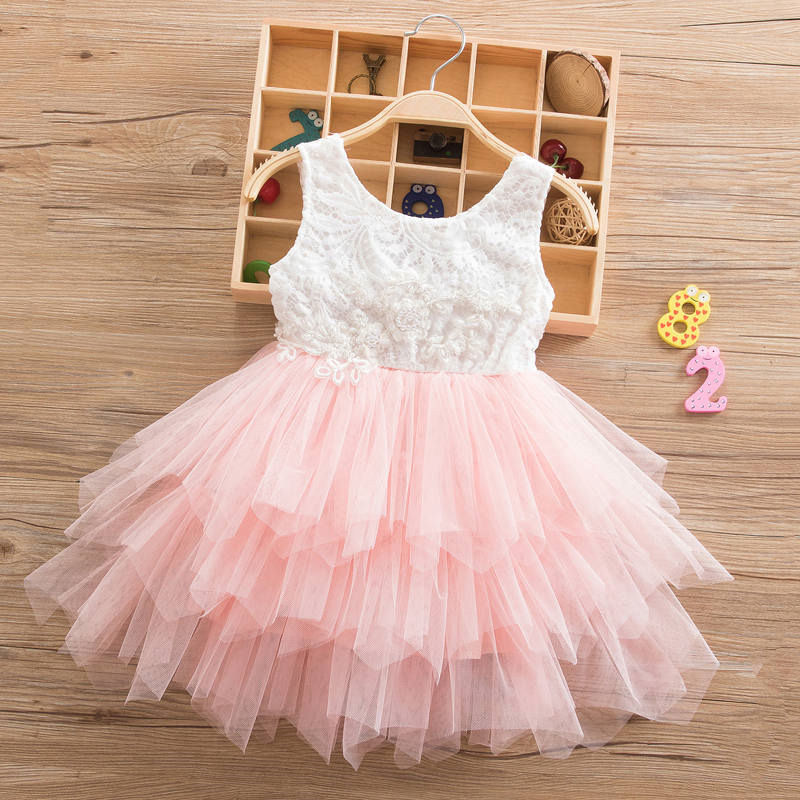 Summer Beading Girl Dress 2018 White Backless Girls Teenage Princess Dress Irregular Tutu 2-6 Years Pink Children Dresses Pink summer spring woman dress black white dog face pattern sequined beading chest black deep pink dress over knee cute cotton dress
