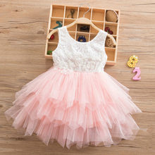 Summer Beading Girl Dress 2018 White Backless Girls Teenage Princess Dress Irregular Tutu 2-6 Years Pink Children Dresses Pink(China)