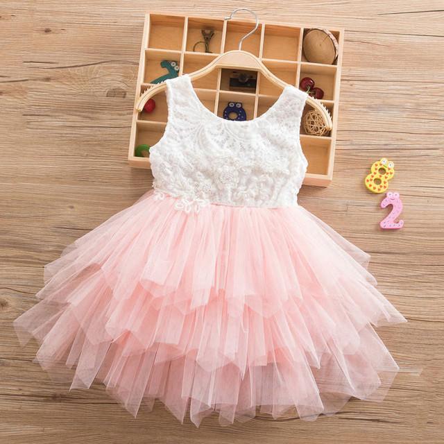 Summer Beading Girl Dress 2018 White Backless Girls Teenage Princess Dress Irregular Tutu 2-6 Years Pink Children Dresses Pink