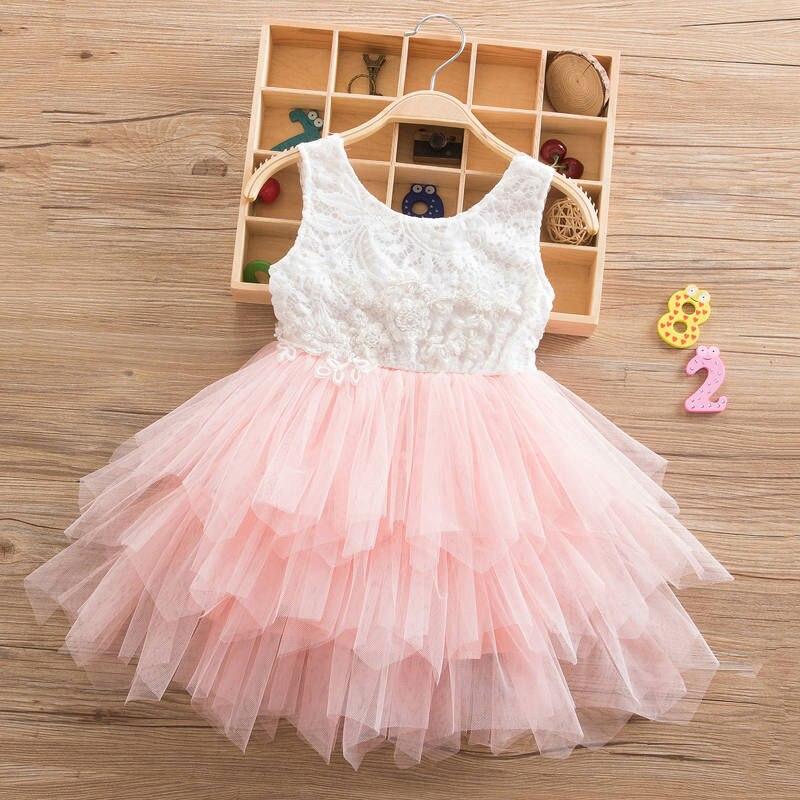 Verano cordón vestido de blanco de 2018 chicas princesa adolescente Irregular vestido Tutu 2-6 años de rosa de los niños vestidos de rosa
