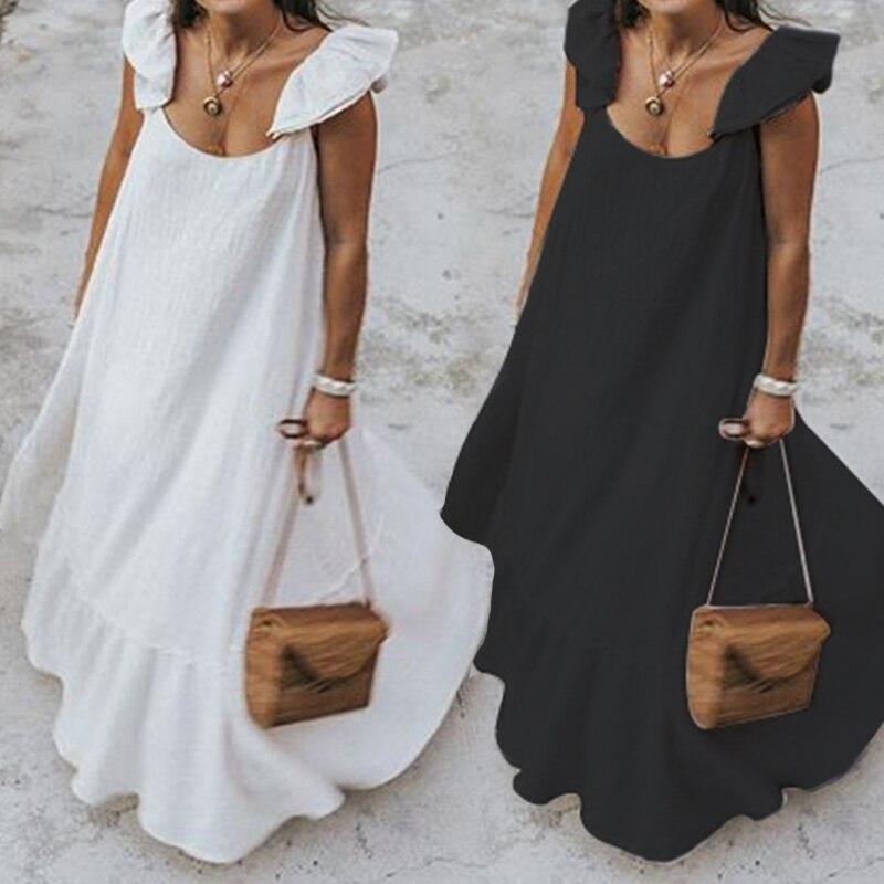 Лето 2020, женское богемное Однотонное Платье макси с оборками, повседневное свободное женское платье без рукавов, длинное платье размера плю...