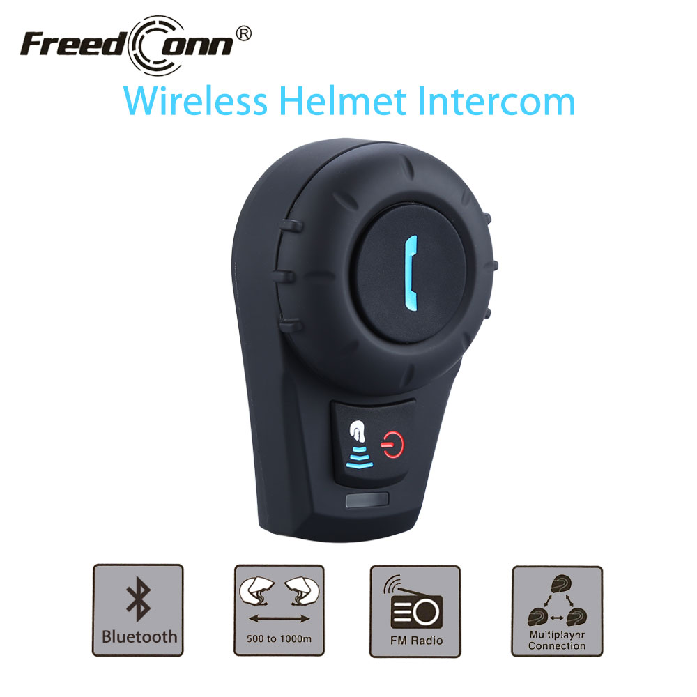 FreedCon FDCVB Motorcycle Helmet Headset 500M BT Bluetooth Interphone Headset Helmet Intercom+Free Earpiece+Bracket FM Radio