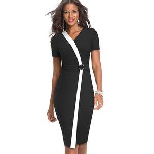 Image 3 - Ładny zawsze elegancki kontrast kolorowy patchwork z pierścieniem pracy vestidos biuro Business Party Bodycon obcisła damska sukienka B539