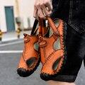 Мужские сандалии из натуральной кожи  повседневные пляжные сандалии для улицы  большой размер 46  для лета  2020