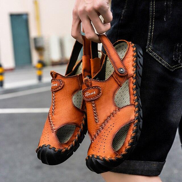 2019 New Casual Shoes Genuine Leather Men Sandals Summer Men Shoes Beach Sandals Man Fashion Outdoor Men's Sandals Big Size 46
