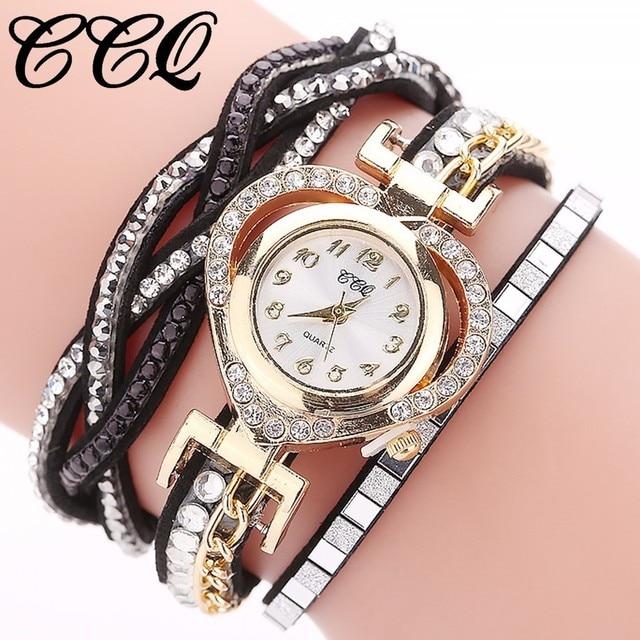 Dropship&Wholesale CCQ Watches Women Fashion Watch Women's Love Heart Bracelet Watch Clock Relogio Feminino Hot Sale