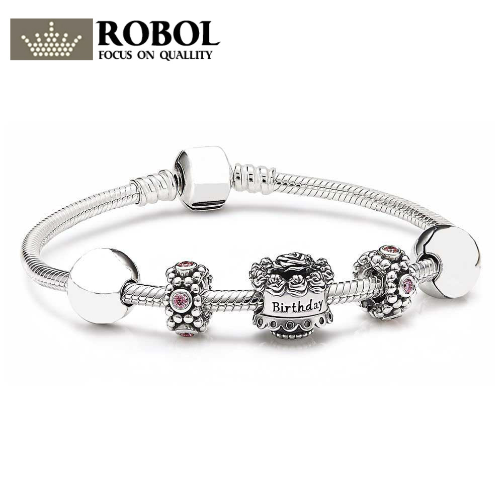 ROBOL Book Di 100% 925 Sterling Silver SALE - BIRTHDAY GIFT SET fit DIY Original charm Bracelets jewelry A set of prices цена