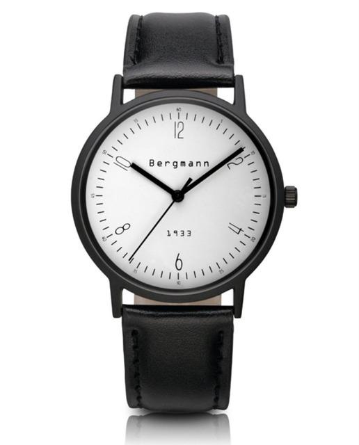 Marca Bergmann Bauhaus style Reloj Para Mujer Para Hombre Clásico Relojes Casual Esfera Blanca de Cuarzo Reloj De Marca de Cuero Genuino Regalo
