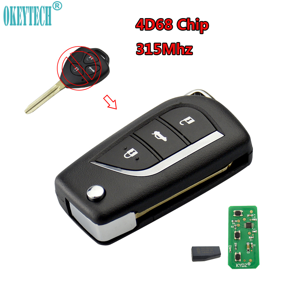 OkeyTech Good Quality 315MHz With 4D68 Chip 3 Buttons Modified Remote Car Key For Toyota Vios Corolla Remote Key Car Styling