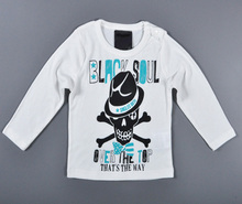 2016 Autumn Fashion Baby Boy T-shirts Cartoon Pattern Printing Longsleeved White Tops O-Neck Letter Kids Clothes T-shirts