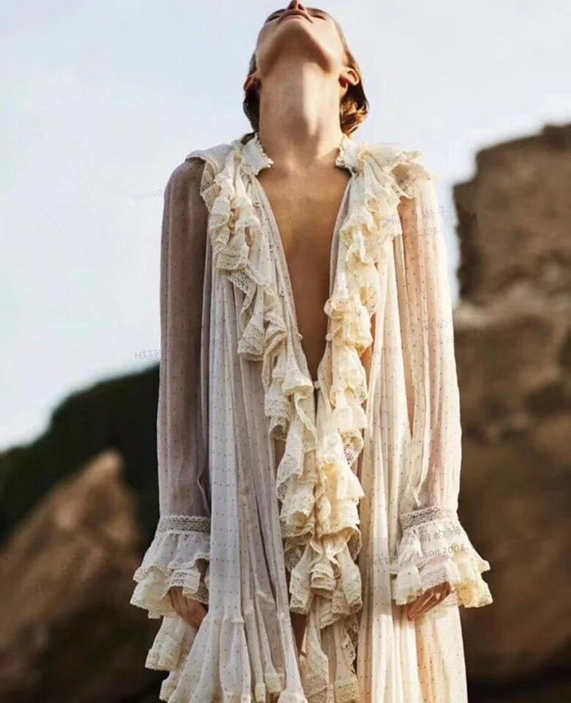 Для женщин элегантные шелковые блуза с длинным рукавом с оборками шею дворец с принтом в горошек ретро стильная застежка рубашка свободные