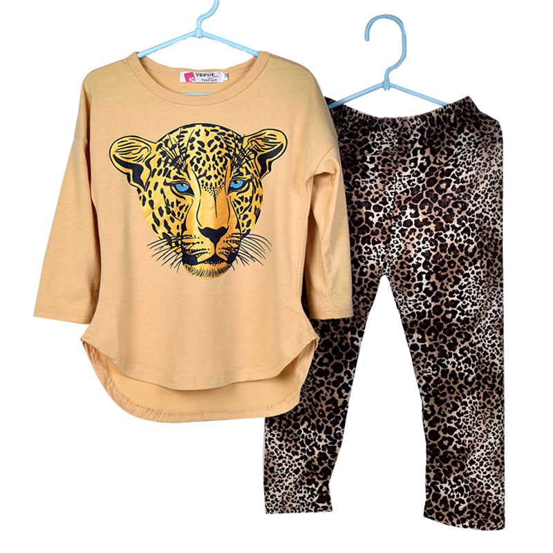 Girls Clothes Baby Girl Set Girl's Leopard Long Sleeve T Shirts Leggings Clothes Kids Clothes Girls Sports Suit Children Clothes girls clothes baby clothing set children eggshell lace cute suit 2pcs kids long sleeve t shirt pants leggings girl clothes