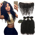 13*4 Ear To Ear Lace Frontal Closure With 3 Bundles Cheap Kinky Curly Virgin Hair With Lace Frontal Closure With Bundles