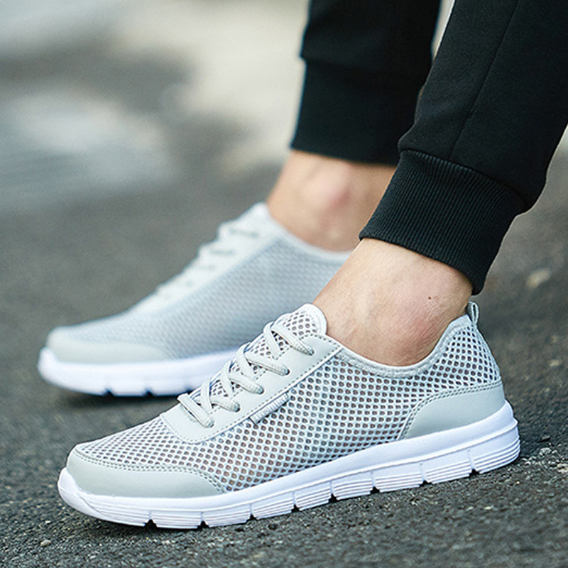 Summer men Casual Shoes For Men Fashion Mesh Lace up Lover Shoes Men Flats Sneakers men sandals Plus Size 36-48 Wading shoes