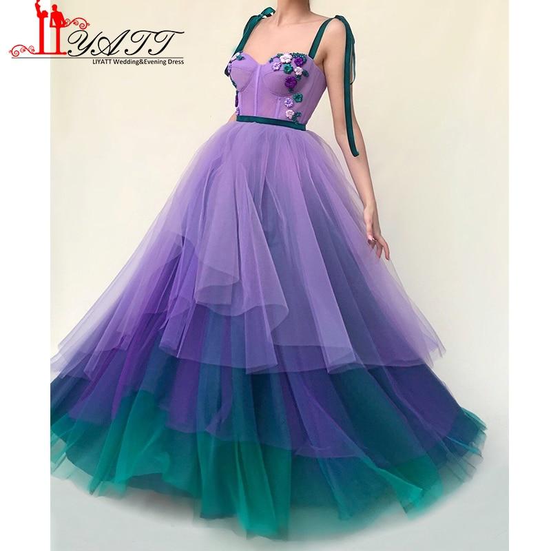 New Arrival 2018 Amazing Purple Fading Dye Skirt Corset Flower Crystals Vintage Arabic Formal Evening Prom Dresses Custom Made