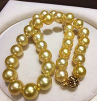 Beautiful New HUGE 11 13 MM golden natural 18 AAA SOUTH SEA PEARL NECKLACE yellow CLASP