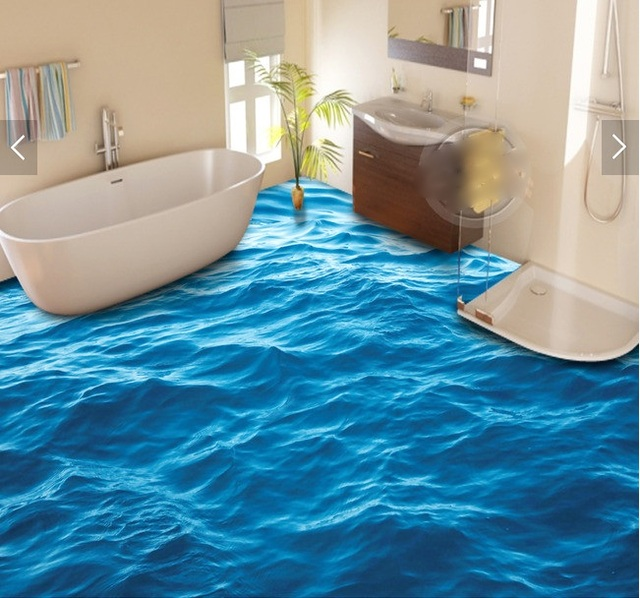 3 D Pvc Flooring Custom Waterproof Wall Paper The Surface Wave 3d Bathroom Picture Mural
