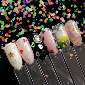 Image 2 - 1pcs Nail Glitter Flakes Mix Star Butterfly Moon Heart Round Symphony Sequin Pigment Nails Art Powder Holographic Manicure BE680