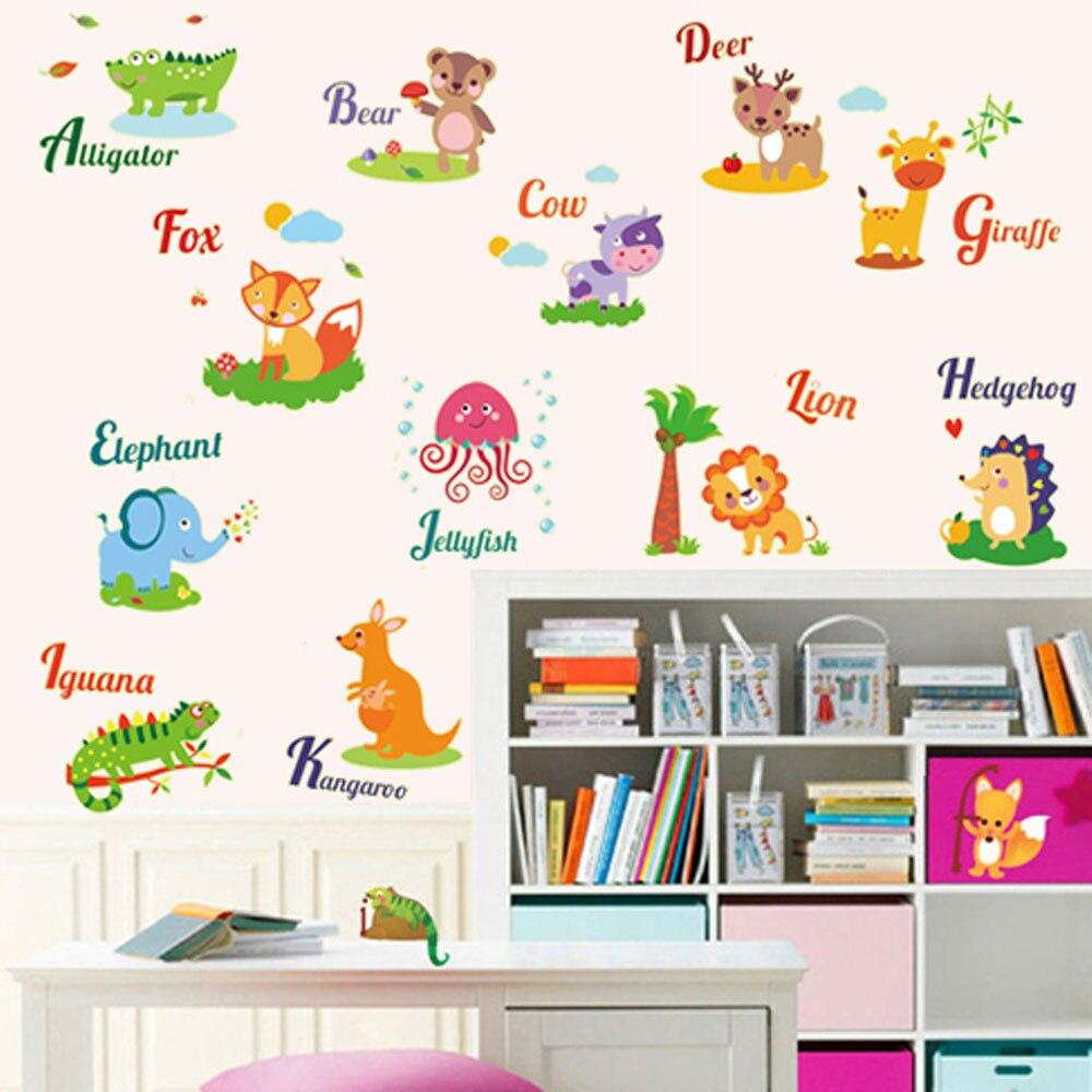 Gratis Shipping 1 Unids Diy Vocabulario Animal Glow Ni Os Sala  -> Sala En Ingles Dibujo