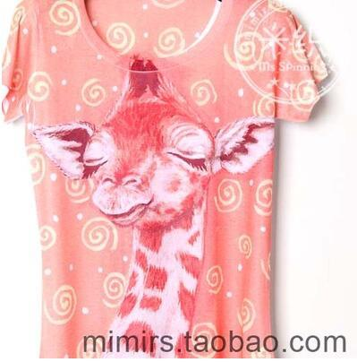 Women T Shirt summer Personalized color t-shirt Giraffe animal 134 lady short sleeve T Shirt