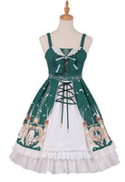 Classic Lolita Dress Straps Green Printed Lolita Jumper Skirts With Bows and White Ruffles