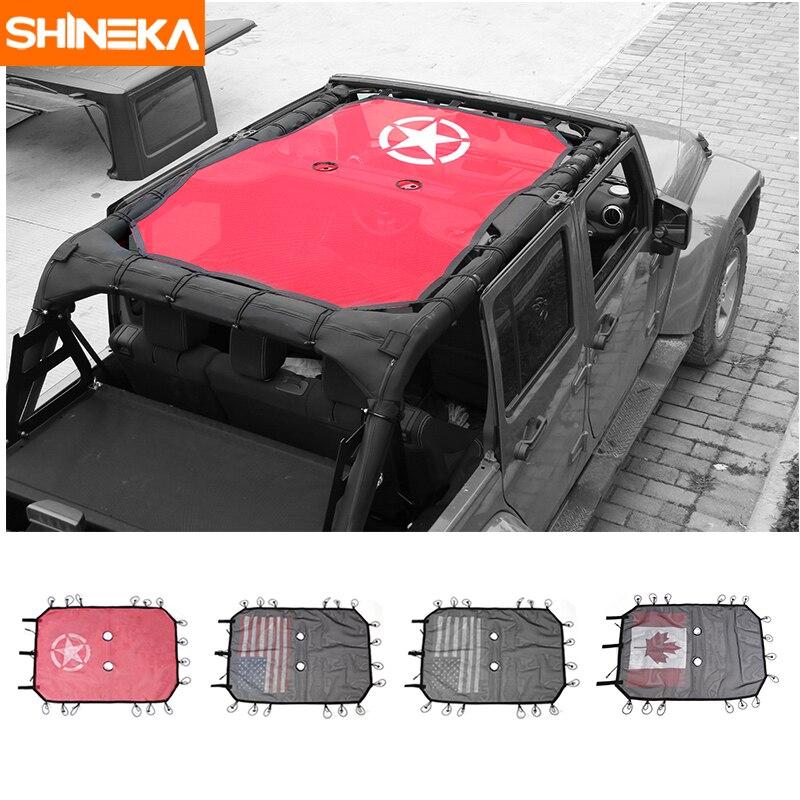 SHINEKA Car-Cover Sun-Uv-Protector Wrangler Sunshade Roof-Mesh Jeep Top for 4-Doors Durable