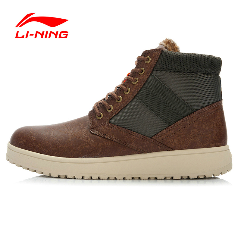 Li-Ning Outdoor Autumn Winter Men Walking Shoes Height Increasing Warm Plush Sneakers Sport Shoes Men ALAJ067 XMR1065 original li ning men professional basketball shoes