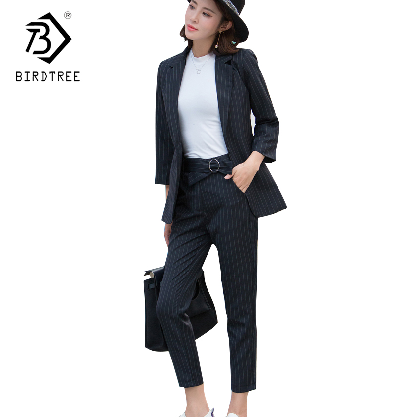 2018 Women's 2 Piece Sets Striped Jacket Blazer High Waist Ankle Length Pant Office Lady Business work Pant Suits Sale C81122L-in Women's Sets from Women's Clothing on AliExpress - 11.11_Double 11_Singles' Day 1
