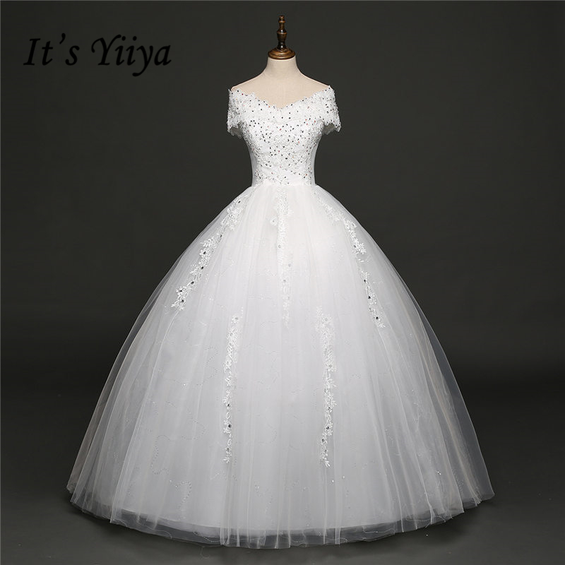 It's YiiYa 2017 Off White Sleeveless V-Neck Sales Wedding Frocks Bling Sequined Embroidery Luxury Vintage Bride dress HS261