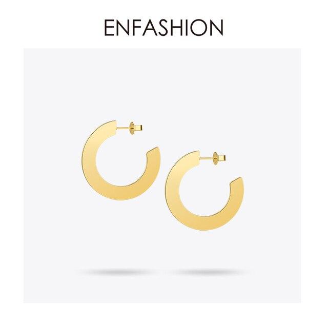 Enfashion Sáng Bóng Lớn Vòng Bông Tai màu Vàng Earings Inox Bông Tai Vòng Tròn Dành Cho Nữ Trang Sức oorbellen EEF1018