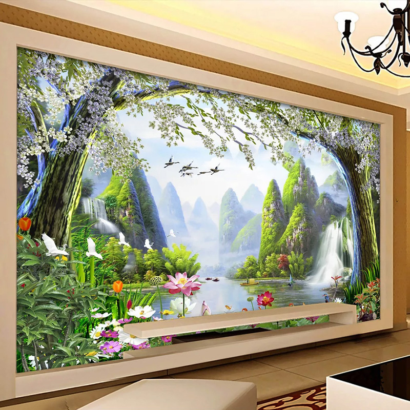 Self-Adhesive Wallpaper 3D Nature Landscape Waterfalls Painting Living Room Dining Room Waterproof Canvas Wall Paper 3D Stickers