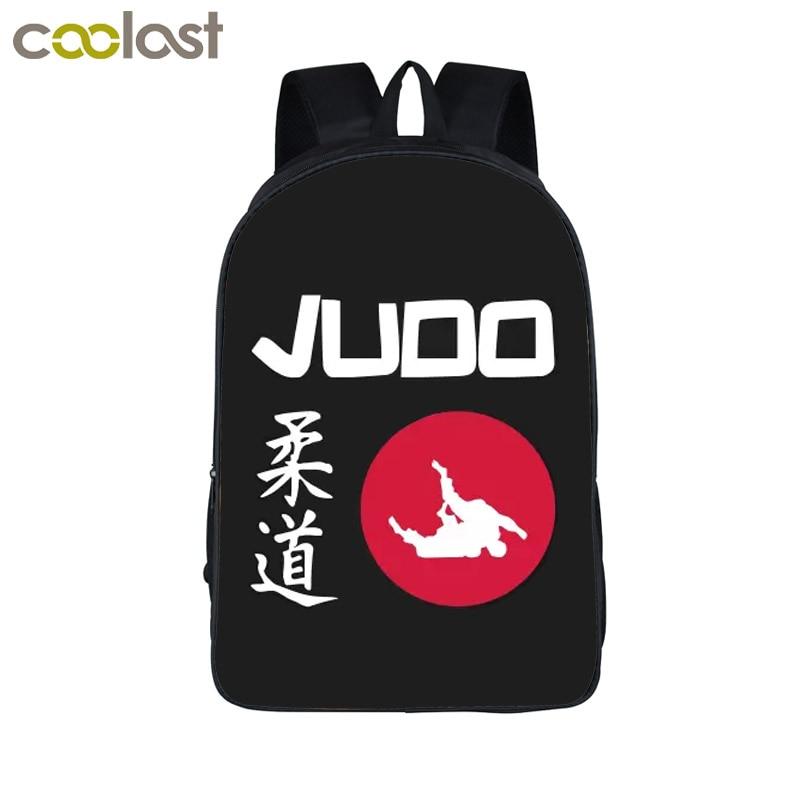 цены на Cool Martial Art Judo / Taekwondo Womens Backpacks for Teenage Girls Boys Karate / Aikido Children School Bags 3D Laptop mochila в интернет-магазинах