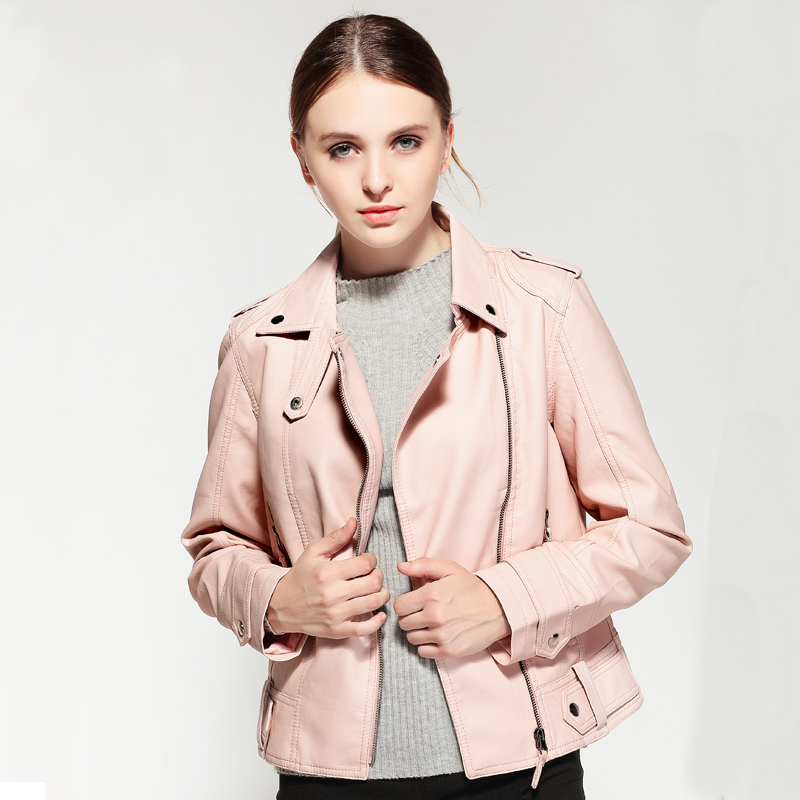 Female 2018 New Design Spring Autumn PU Leather Jacket Faux Soft Leather Coat Slim Black Rivet Zipper Motorcycle Pink Jackets 6