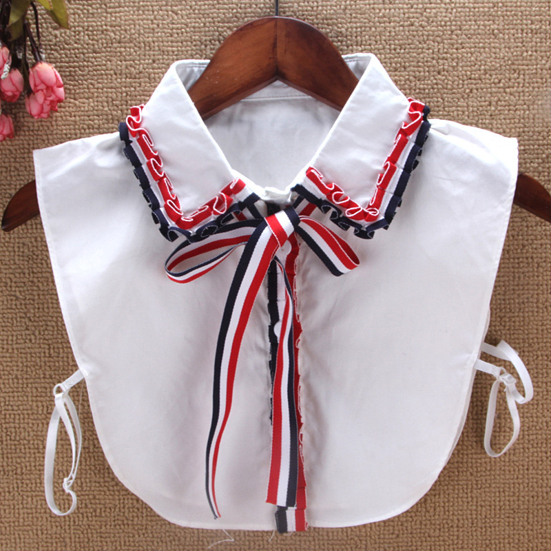 2018 New Ruffle Collar Shirt Fake Collar Striped Bowtie Women Removable Peto Mujer Chemisier Faux cols China Garment Croptop
