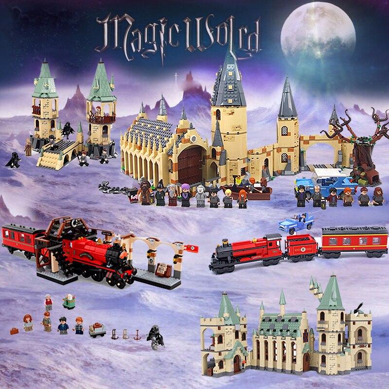 Lepin Harry Movie Potter Hogwarts Castle Express Train Blocks Compatible Legoinglys Kids Toy 4867 4842 4841 75954 75953 75955