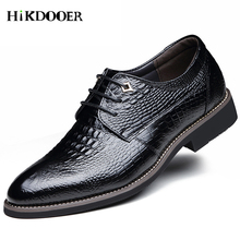 Fashion Leather Shoes Men Dress Shoes Casual Pointed Oxfords For Men Lace Up Designer Crocodile Skin Luxury Men Formal Shoes цена