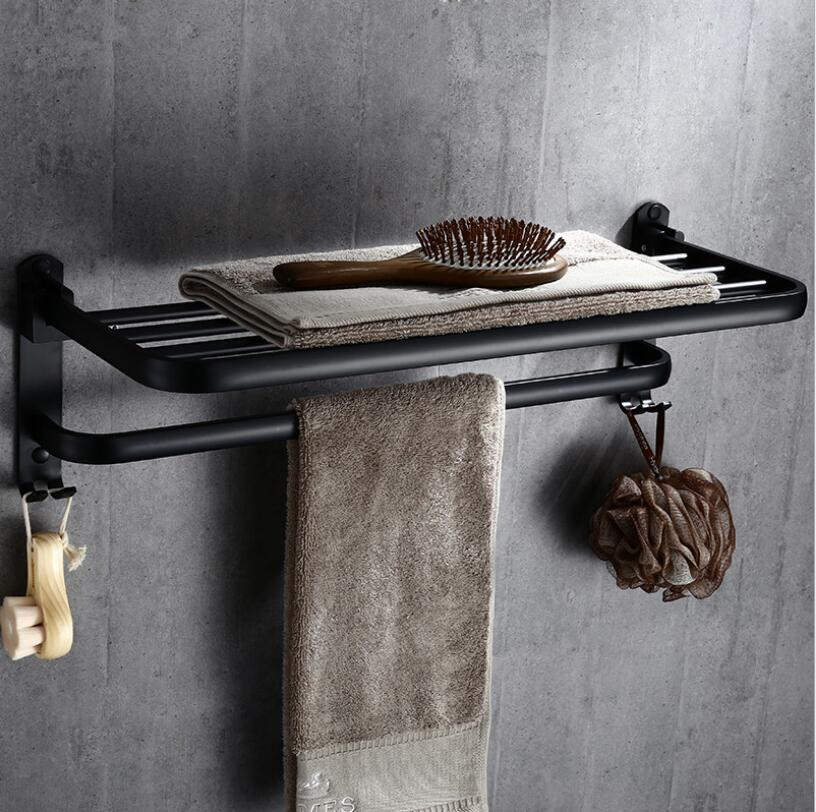 60 cm Black Oil Brushed Bathroom Towel Rack Folding Movable Bath Towel Holder Bar Hotel Home Bathroom Storage Rack Shelf