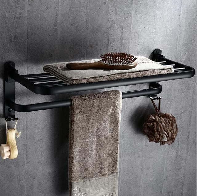 60 cm Black Oil Brushed Bathroom Towel Rack Folding Movable Bath ...