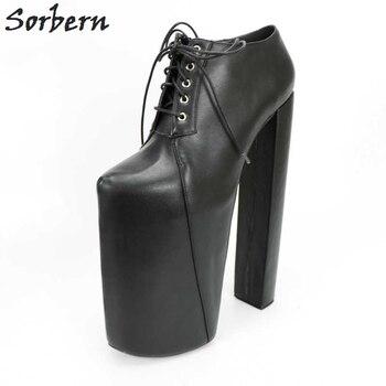 0b8303a19 Sorbern черный см 30 см Фетиш Высокий каблук 22 см платформа Туфли-лодочки  Женские квадратные дизайнерские каблуки плюс размер 41 женская обувь 2018.
