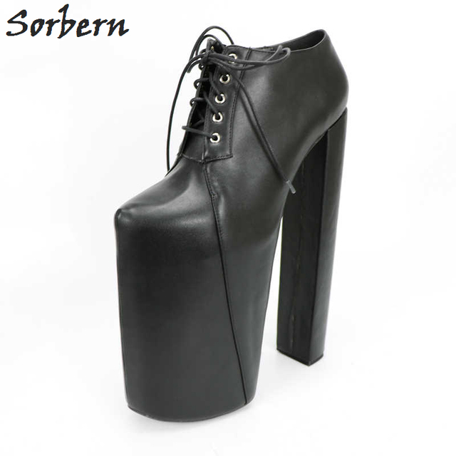 8a9a469c93250 Sorbern Black 30Cm Fetish High Heel 22Cm Platforms Pump Shoes Women Square  Designer Heels Plus Size 41 Women Shoes 2018 Fashion