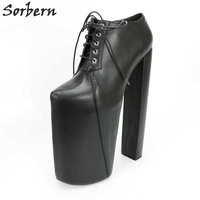 Sorbern Black 30Cm Fetish High Heel 22Cm Platforms Pump Shoes Women Square Designer Heels Plus Size 41 Women Shoes 2018 Fashion
