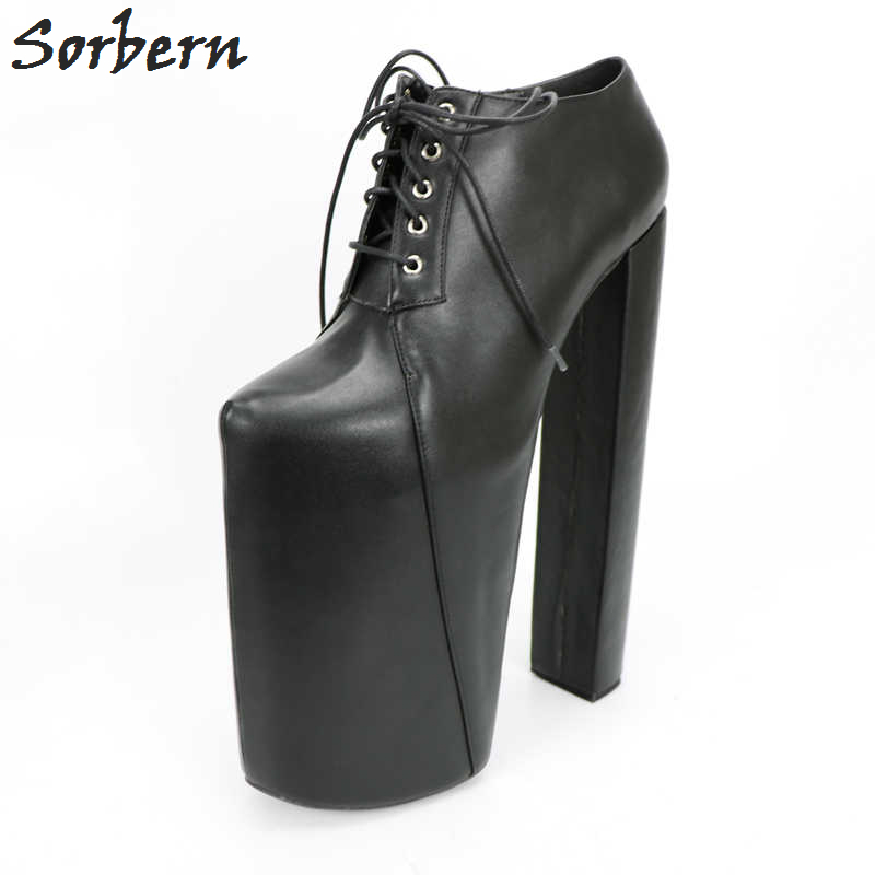 Sorbern Black <font><b>30Cm</b></font> Fetish High <font><b>Heel</b></font> 22Cm Platforms Pump Shoes Women Square Designer <font><b>Heels</b></font> Plus Size 41 Women Shoes 2018 Fashion image