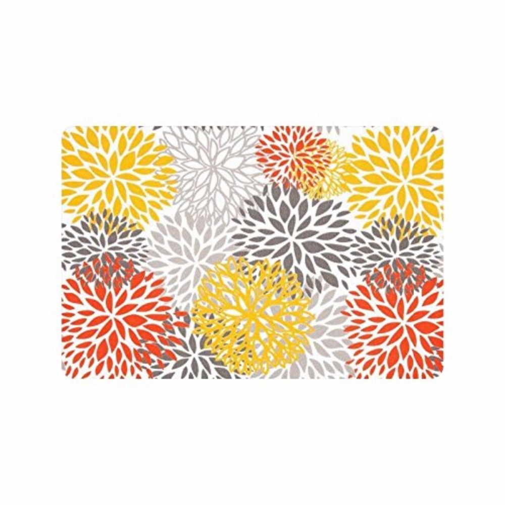23 6 quot L x 15 7 quot W 3 16 amp quot Thickness Gray Yellow Red Dahlia Flower Floral Indoor outdoor Floor Mat Doormat in Mat from Home amp Garden