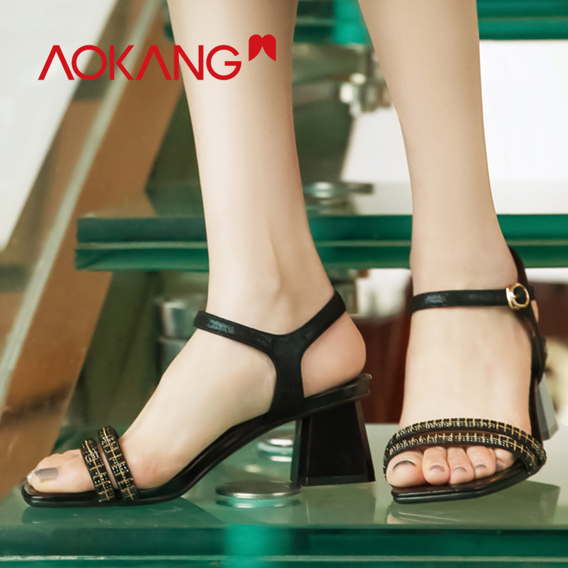AOKANG Summer shoes woman sandals high heels square heels women shoes Buckle Strap Sandals Ladies Solid