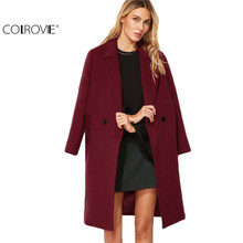 COLROVIE Winter Coat Women Elegant Designer Womens Coats Outerwear Burgundy Notch Collar Double Breasted Lapel Overcoat