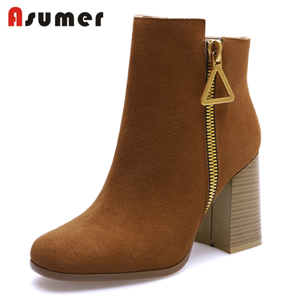 ASUMER NEW 2018 fashion suede leather ankle boots women round toe zipper square high heels shoes female dress casual shoes